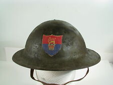 WWI British Royal Army Helmet w Cloth Crest & Brodie Liner