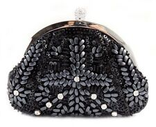 *New*  Vintage  Beaded Shiny Sequins Flower Pattern Evening Handbag Purse Clutch