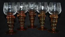Vintage Set of 5 Amber Roemer Glasses - Bubble Hollow Stem, Prunts, Vine & Leaf