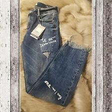 ZARA TRAFALUC printed cropped distressed frayed ripped jeans Size 6 US 38 EUR