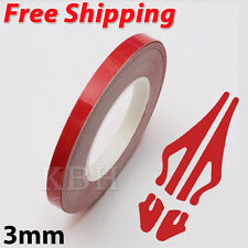 "3mm 1/8"" Pin Stripe Pinstriping Soild Line Tape Vinyl Decal Sticker Car Red"
