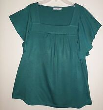 UK size 14 womens clothes - Green square neck top