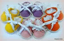 "Set 4 Pair DOLL SNEAKERS Backless Canvas SHOES fits 18"" AMERICAN GIRL DOLL"