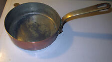 VINTAGE FRENCH COPPER SAUCEPAN 6.5'' BAZAR FRANCAIS BRASS HANDLE TINNED INTERIOR