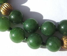 "20"" HAND-KNOTTED NECKLACE OF BEAUTIFUL OLD SMALL JADE VINTAGE STONE BEADS"