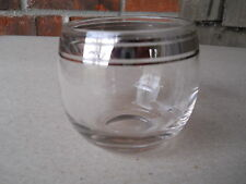 "Mid Century High Ball 10 oz Drinking Glass with Silver Band Overlay  3 1/4"" x 3"""