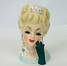 Vintage Porcelain Lady Head Vase Enesco Japan 1960s