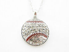 Baseball Clear Crystal Pendant on Silver Chain Necklace Jewelry Softball Gift