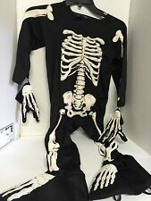 Child Skeleton Costume Jumpsuit Unisex Size 4 With Two Hand Gloves Halloween Boy