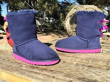 $120 Ugg Australia Bailey Bow Peacock Blue Pink Winter Boots 3280K Kids 4
