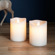 Pair of Real Ivory Wax Battery Operated Dancing Flame LED Pillar Candles 10cm