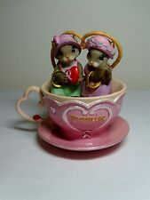 Charming Tails Promise Pink Tea Cup Teacup Breast Cancer Awareness Mice Figurine