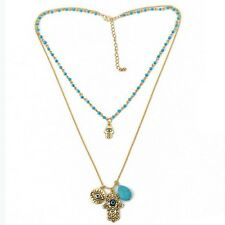 Hamsa Hand Of God Fatima Evil Eye Pendant Bead Turquoise Chain Necklace tang