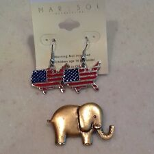 Elephant Pin  And United States Earrings Pierced