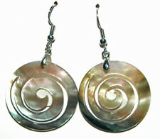 MOTHER OF PEARL SHELL SWIRL DANGLE EARRINGS (D299)