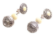 Vintage & Intricate- Chrome Engraved Detail/ White Stone Clip on Earrings(Zx200)