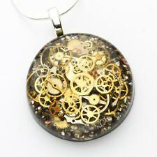 STEAMPUNK RESIN NECKLACE PENDANT STERLING WATCH PARTS GEARS COGS SHELL UNIQUE