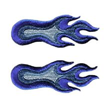 Set Of 2 Small Flame Fire 3 Different Blues Embroidered Iron On Applique Patch