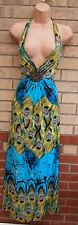 HALTERNECK SEXY YELLOW GREEN BLUE PEACOCKS FEATHER LYCRA LONG MAXI DRESS 12 M