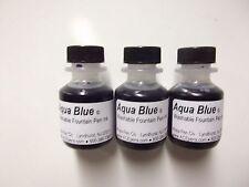 (3) AQUA BLUE washable fountain pen ink for vintage pens   1-1/2 ounce bottles