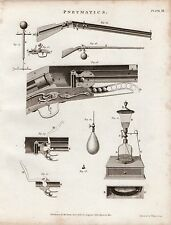 1802 GEORGIAN PRINT ~ PNEUMATICS ~ GUN ARTILLERY DIAGRAMS