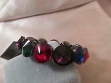NWT GUNMETAL with LARGE Multicolored FACETED GEMSTONE BRACELET, Stretch, 7 1/2""