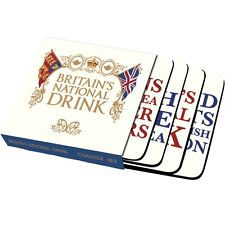♡ BRITISH NATIONAL DRINK ~ FOUR COASTER SET BY HALF MOON BAY ~ NEW & BOXED