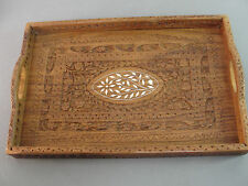 TEAK WOODEN SERVING TRAY HANDLES CARVED FLORAL DESIGN WOOD INLAY INDIA HAND CUT