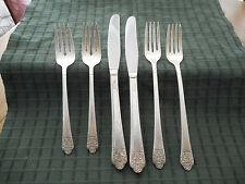 6 Vintage Rogers & Bros Grille Forks Knives Salad Forks Silverplate Flatware