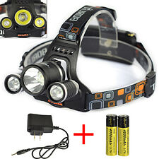 Rechargeable 8000 Lumen 3x XM-L T6 LED Headlamp Headlight Head Torches+2*Charger