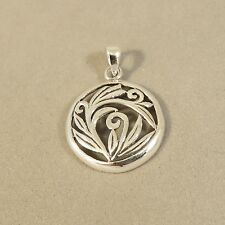 .925 Sterling Silver Round LEAF/SWIRL PENDANT NEW Circle Open Rovin 925 RV03