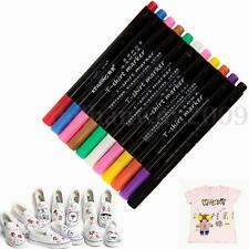 11x MultiColor Permanent Marker Pens Fabric Textile Clothes T-Shirt Cloth Shoes