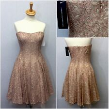 French Connection Ladies Pink Rose Gold Lace Strapless Skater Dress Size 14 BNWT