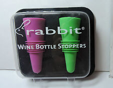 New Sealed Rabbit Wine and Beverage Bottle Stoppers Assorted Colors, Set of 2