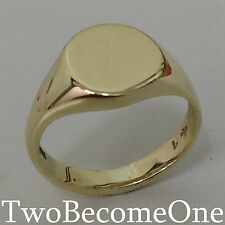 Handmade Mens Signet Ring 18ct Yellow Gold Oval Shape 12mm x 10mm Table 7.7grams