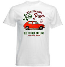 VINTAGE ITALIAN CAR FIAT 127 REAL POWER - NEW COTTON T-SHIRT