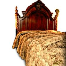 FUR ACCENTS Brown Fox Fur Bedspread / Faux Wolf / Coyote / Bear / King Size