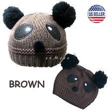 Baby Girl Boy Pom Pom Knitted Beanie Panda Hat Cap 4 mon-5 yrs Brown US Stock
