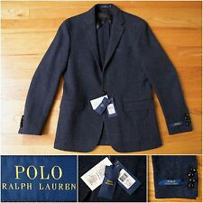 BNWT $1005 Polo Ralph Lauren Tweed 2 Button Jacket in Navy Blue 38R 40R Slim-Fit