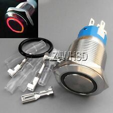 19mm 12V RED Led Angel Eye Push Button Metal MOMENTARY Switch Connector O-ring