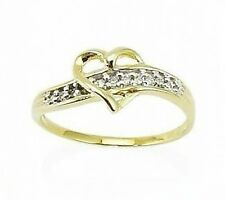Value! 100% 10K Yellow Gold Heart Shape Ring w/ Diamond Accent Band