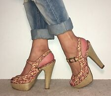 DUNE Red Yellow Floral Peep Toe Platform Strappy High Heels Size 5 / 38