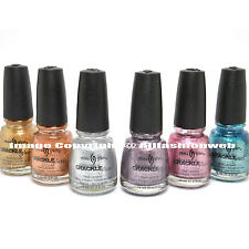 CHINA GLAZE 6 PCS Crackle Metallic Metals Full Color Set Nail Polish Lacquer