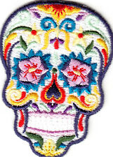 CANDY SKULL-MULTI-COLORED ON WHITE-DIA DE LOS MUERTES-IRON ON EMBROIDERED PATCH