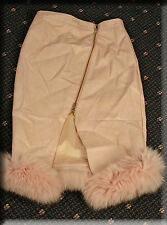 Brand New Kylie Jenner Pink Snakeskin Print Leather Skirt Pink Fox Fur Trim