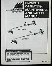 McCulloch Trimmer Edger MAC 60-A 80-A User Manual Operator Owner