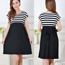 Women's Maternity Casual Dress Pregnant Cotton Clothes Stripe Pregnancy Dresses