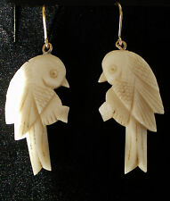 Fine Antique Victorian Love Bird Drop Earrings on 9ct Gold French Wires c1890