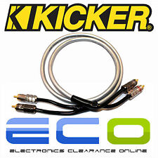 Kicker Car Audio Proffesional 1 Metre RCA Phono Cables Leads 1 Pair of RCA