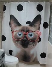 Cat Wearing Glasses White With Black Dots Bathroom Shower Curtain Polyester